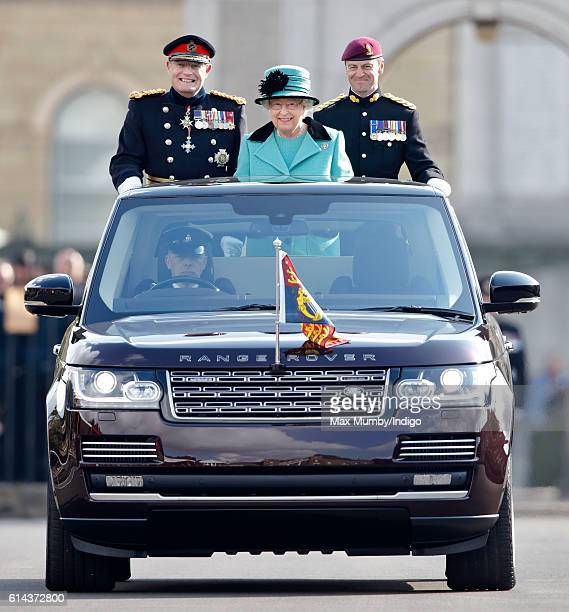 Queen Elizabeth II, Colonel-in-Chief of the Corps of Royal Engineers, accompanied by Lieutenant General Sir Mark Mans and Lieutenant Colonel Sean...