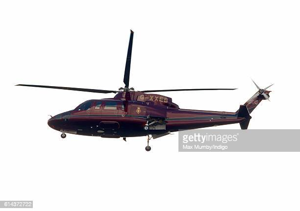 Queen Elizabeth II ColonelinChief of the Corps of Royal Engineers arrives in a Sikorsky Helicopter for a visit to the Corps of Royal Engineers at...