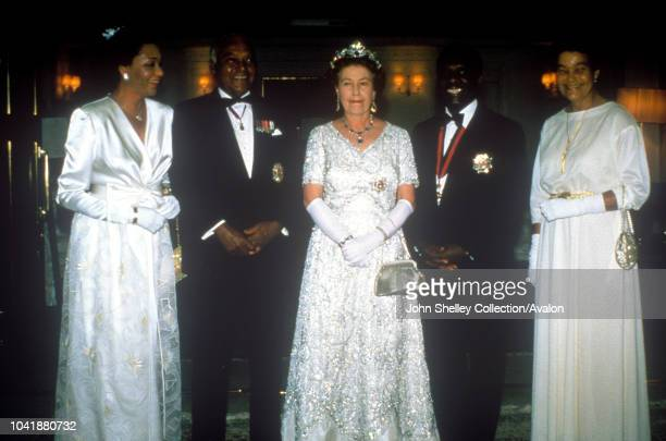 Queen Elizabeth II Commonwealth Heads of Government Meeting 1985 Nassau The Bahamas Marguerite Pindling Bahamas Governor General Sir Gerald Cash the...
