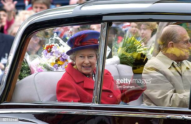 Queen Elizabeth II Continuing Her Jubilee Tour Of The Uk Visiting The East End Of London Travelling In Her Official Rolls Royce Car With Huge Windows...