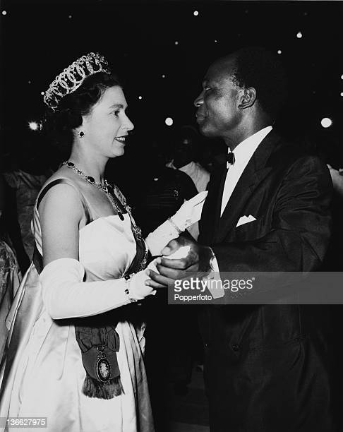 Queen Elizabeth II dancing with President Kwame Nkrumah at the High Life Ball held at the State House Accra Ghana 20th November 1962