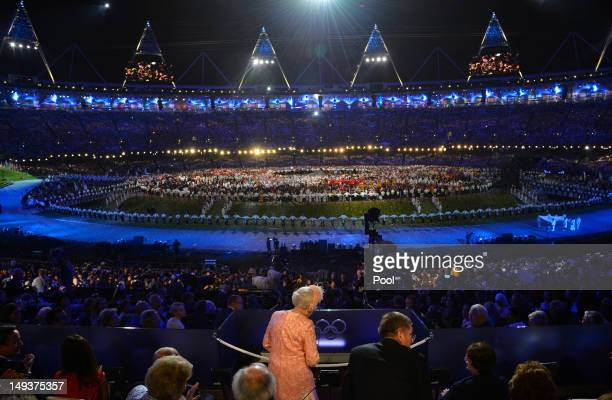 Queen Elizabeth II declares the Olympic Games open during the opening ceremony at the Olympic Stadium on July 27, 2012 in London, England.