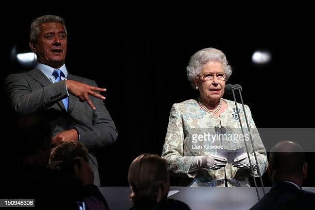 Queen Elizabeth II delcares the games open during the Opening Ceremony of the London 2012 Paralympics at the Olympic Stadium on August 29 2012 in...