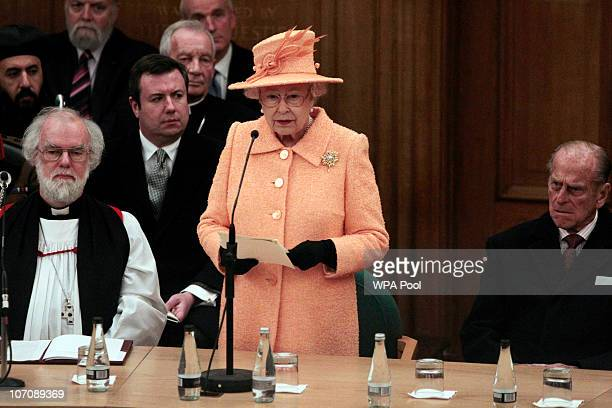 Queen Elizabeth II delivers a speech as Archbishop of Canterbury Rowan Williams and Prince Philip, Duke of Edinburgh , watch on during the 9th...