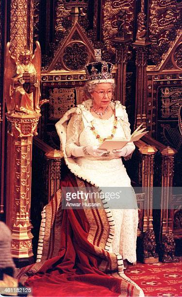 Queen Elizabeth II delivers a speech as she attends the State Opening of Parliament on November 24 1998 in London England