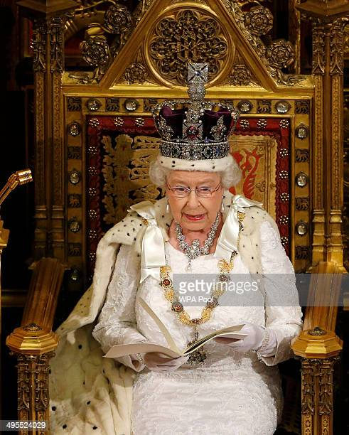 Queen Elizabeth II delivers her speech during the State Opening of Parliament in the House of Lords at the Palace of Westminster on June 4 2014 in...