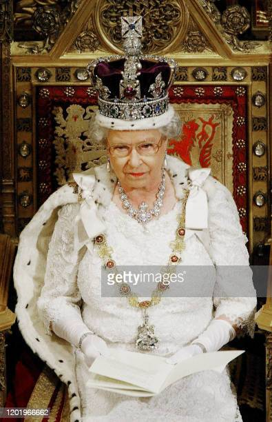 Queen Elizabeth II delivers her speech to members of the House of Lords and the House of Commons during the State Opening of Parliament in London, 26...