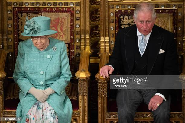 Queen Elizabeth II delivers the Queen's Speech alongside Prince Charles, Prince of Wales in the House of Lord's Chamber on December 19, 2019 in...
