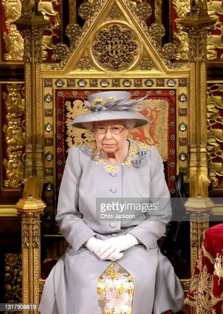 Queen Elizabeth II delivers the Queen's Speech in the House of Lord's Chamber during the State Opening of Parliament at the House of Lords on May 11,...