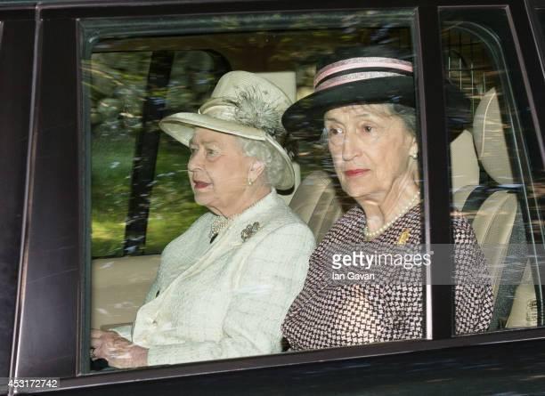 Queen Elizabeth II departs after attending a service of commemoration at Crathie Kirk Church on August 4, 2014 in Crathie, Aberdeenshire, Scotland....