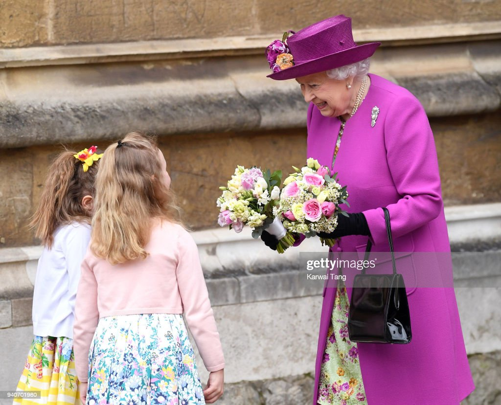 Queen Elizabeth II departs after attending an Easter Service at St George's Chapel on April 1, 2018 in Windsor, England.
