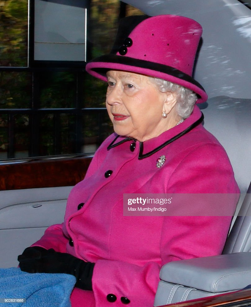 Queen Elizabeth II departs after attending Sunday service at St Mary Magdalene Church, Sandringham on January 7, 2018 in King's Lynn, England.