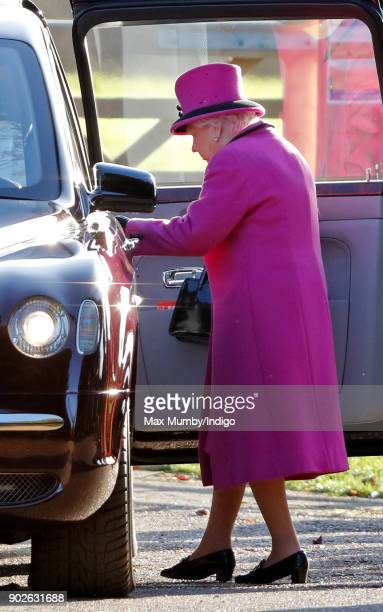 Queen Elizabeth II departs after attending Sunday service at St Mary Magdalene Church Sandringham on January 7 2018 in King's Lynn England