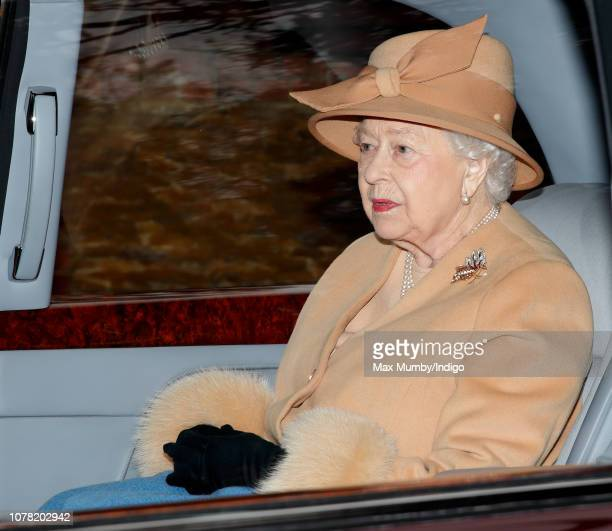 Queen Elizabeth II departs after attending Sunday service at the Church of St Mary Magdalene on the Sandringham estate on January 6 2019 in King's...