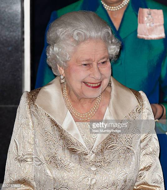 Queen Elizabeth II departs after attending the Gold Service Scholarship awards ceremony at Claridge's on February 16 2016 in London England
