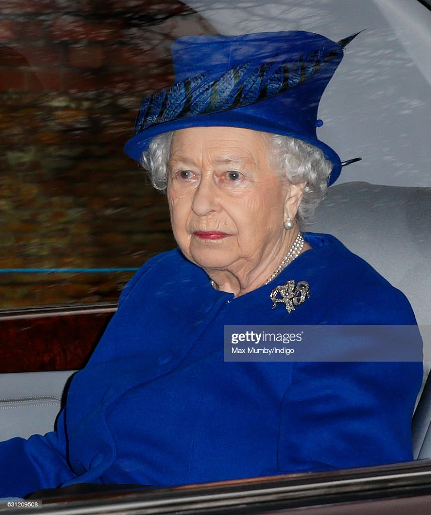 Queen Elizabeth II departs after attending the Sunday service at St Mary Magdalene Church, Sandringham on January 8, 2017 in King's Lynn, England. The Queen missed services on Christmas Day and New Year's Day after suffering a heavy cold.