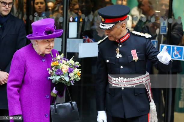 Queen Elizabeth II departs after officially opening of the new Royal National ENT and Eastman Hospitals on Huntley Street in London United Kingdom on...