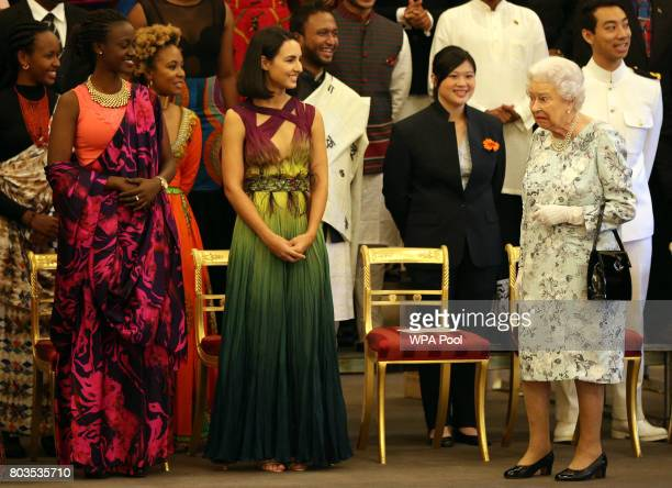 Queen Elizabeth II departs after posing for a group photo at the 2017 Queen's Young Leaders Awards Ceremony at Buckingham Palace on June 29 2017 in...