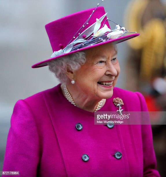 Queen Elizabeth II departs after reopening the Sir Joseph Hotung Gallery at the British Museum on November 8 2017 in London England