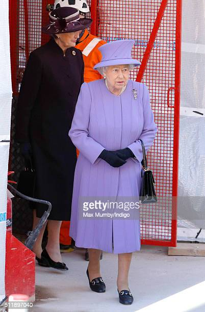 Queen Elizabeth II departs after visiting the Crossrail station site at Bond Street on February 23, 2016 in London, England.