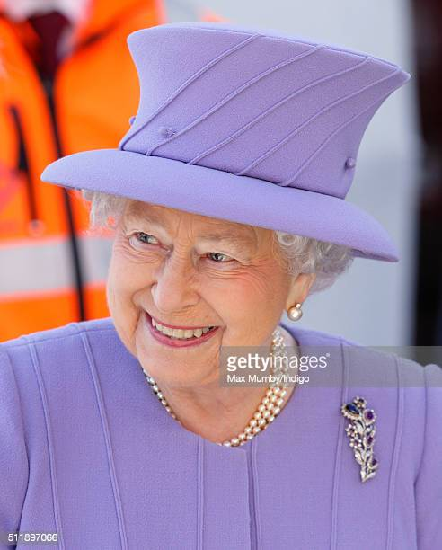 Queen Elizabeth II departs after visiting the Crossrail station site at Bond Street on February 23 2016 in London England