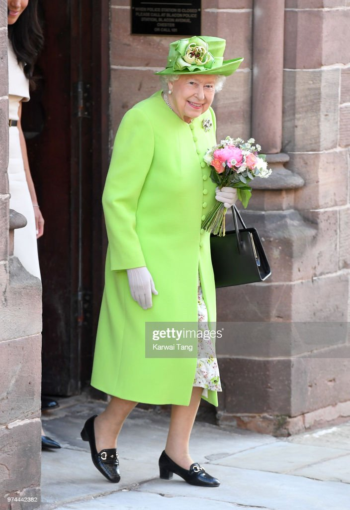Queen Elizabeth II departs Chester Town Hall, where she attended lunch with Meghan, Duchess of Sussex as guests of Chester City Council on June 14, 2018 in Chester, England. Meghan Markle married Prince Harry last month to become The Duchess of Sussex and this is her first engagement with the Queen. During the visit the pair opened a road bridge in Widnes and visited The Storyhouse in Chester.