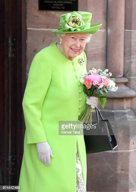 Queen Elizabeth II departs Chester Town Hall where she attended lunch with Meghan Duchess of Sussex as guests of Chester City Council on June 14 2018...