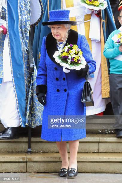 Queen Elizabeth II departs from St George's Chapel after attending the Royal Maundy Service on March 29 2018 in Windsor England