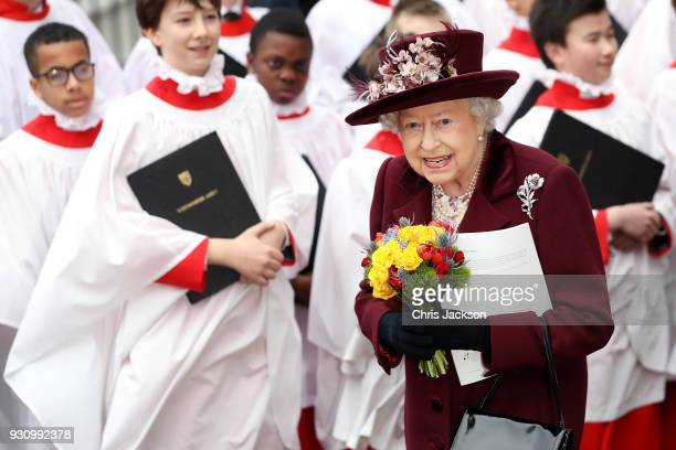 Queen Elizabeth II departs from the 2018 Commonwealth Day service at Westminster Abbey on March 12 2018 in London England