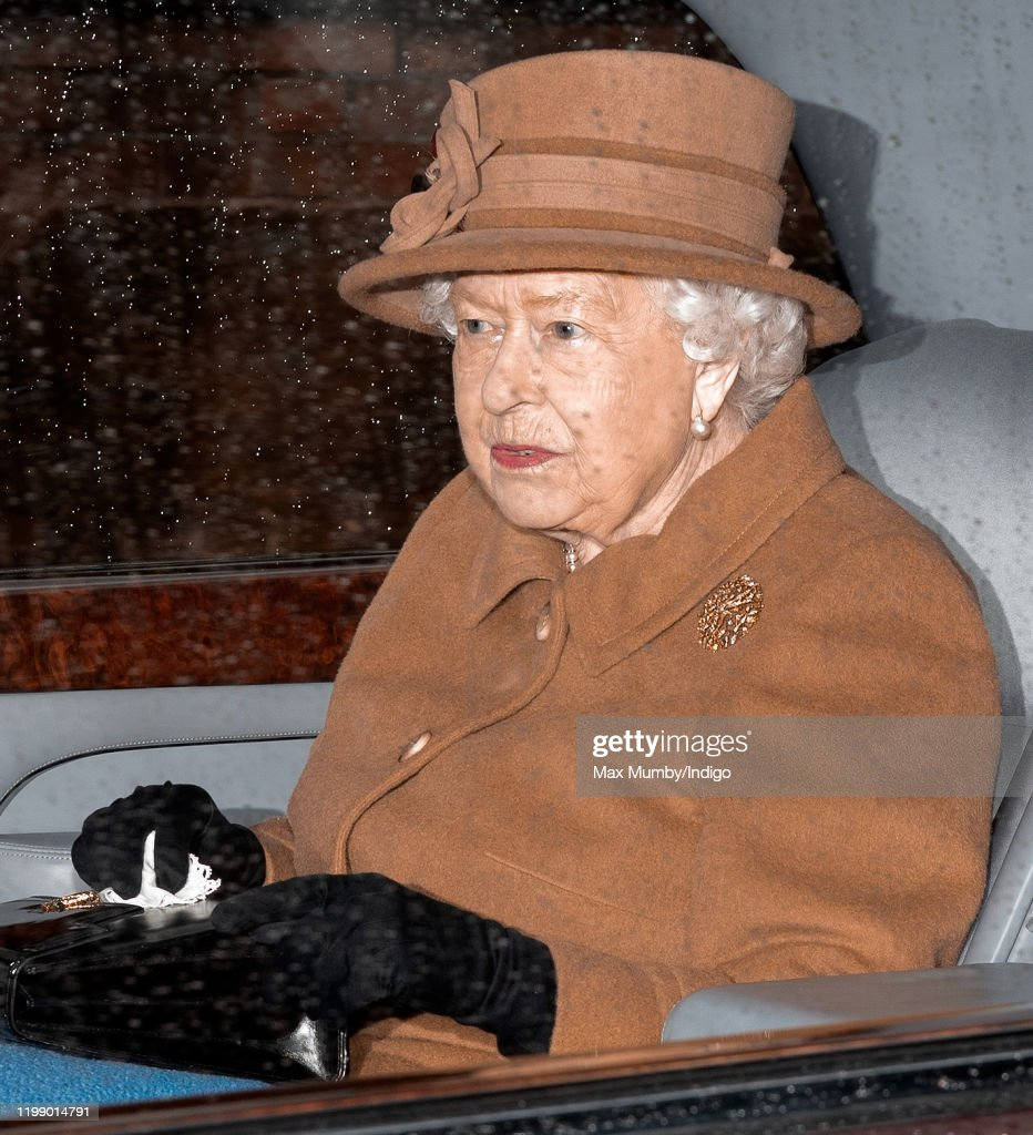 Queen Attends Sunday Church in Sandringham : News Photo