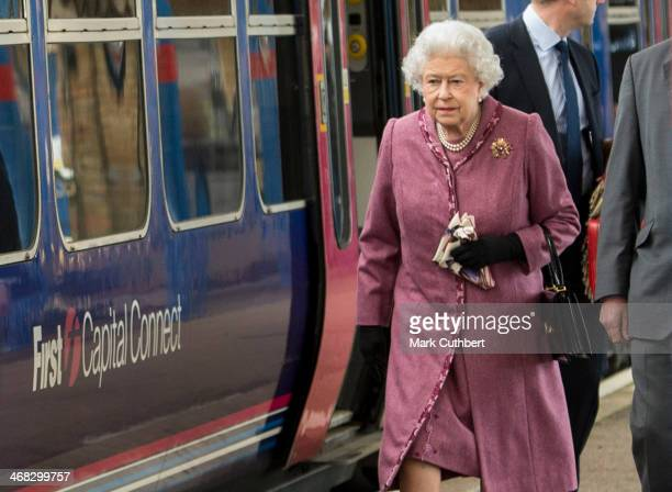 Queen Elizabeth II departs King's Lynn station to return to London after her annual Christmas holiday at Sandringham on February 10 2014 in King's...