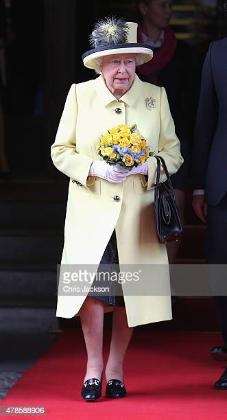 Queen Elizabeth II departs the Adlon Hotel on the final day of a four day State Visit to Germany on June 26 2015 in Berlin Germany