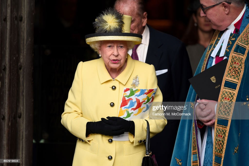 Queen Elizabeth II departs the annual Commonwealth Day service and reception during Commonwealth Day celebrations on March 13, 2017 in London, England.