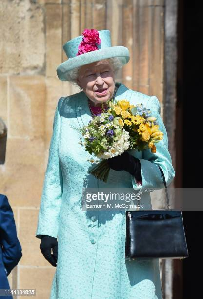 Queen Elizabeth II departs the Easter Sunday service at St George's Chapel on April 21 2019 in Windsor England