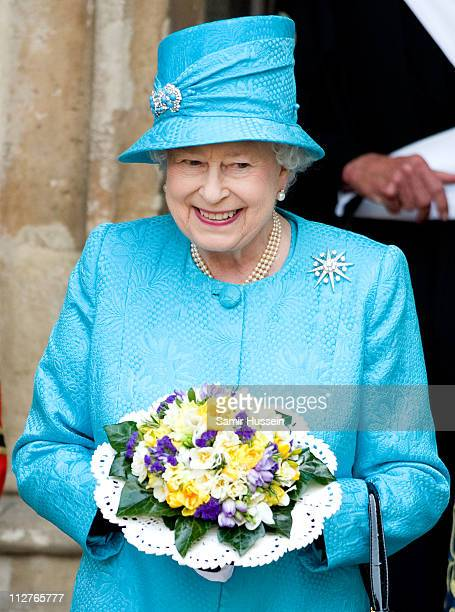 Queen Elizabeth II departs the Maundy Service at Westminster Abbey on April 21 2011 in London England Today is Queen Elizabeth II's 85th Birthday