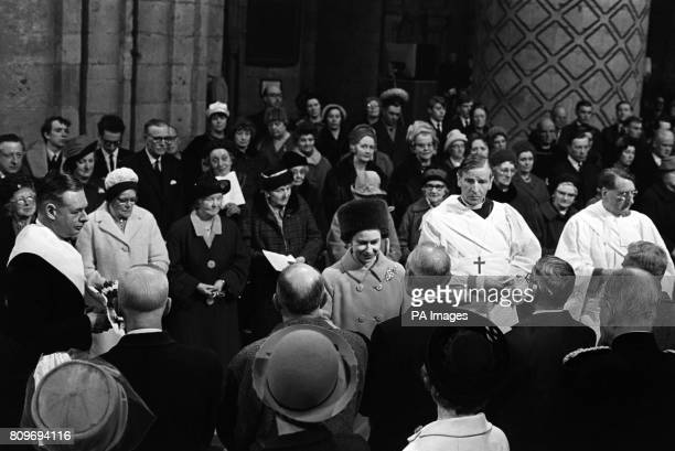Queen Elizabeth II distributing Maundy money at a Maundy Day service at Durham Cathedral