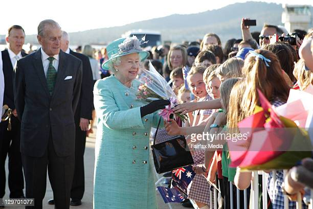 Queen Elizabeth II does a walkabout with his Royal Highness The Duke of Edinburgh,on October 19, 2011 in Canberra, Australia. The Queen and Duke of...