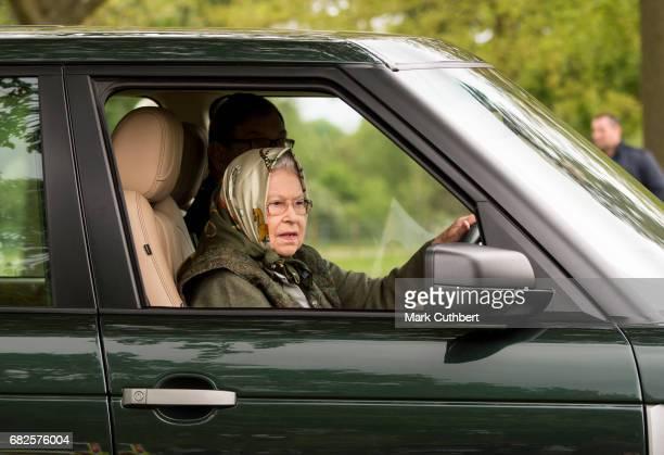 Queen Elizabeth II driving her Range Rover around the Windsor Horse Show on May 13 2017 in Windsor England
