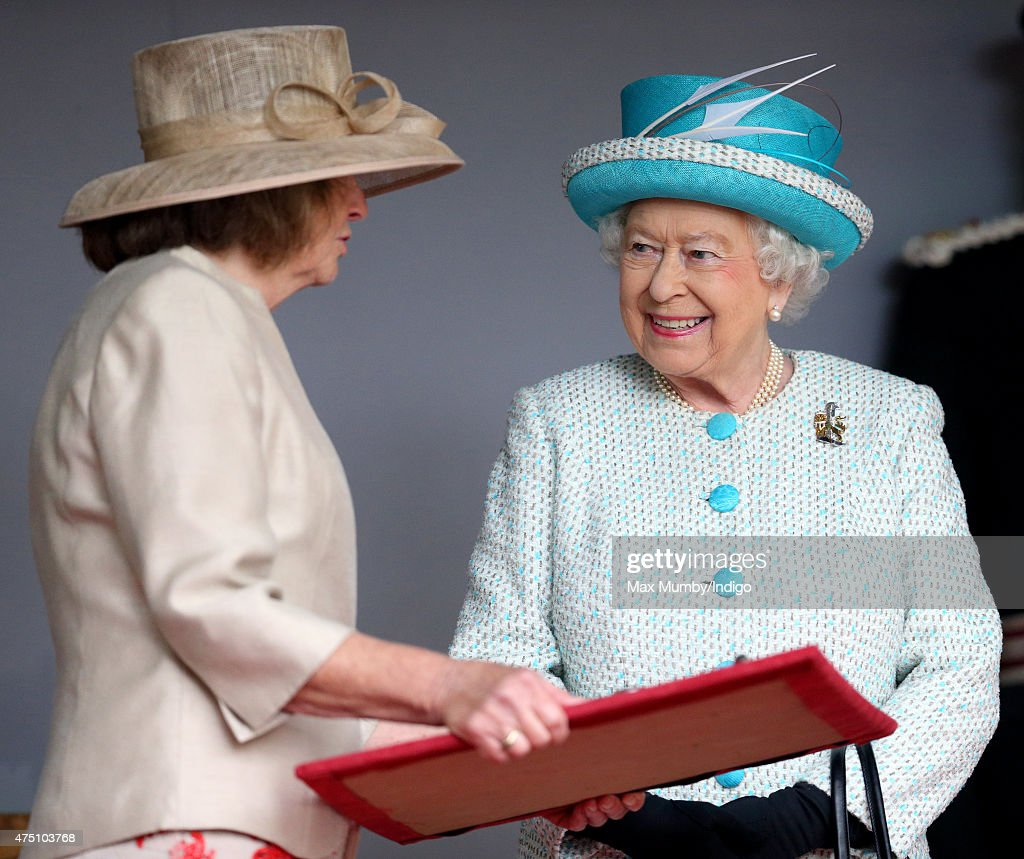Queen Elizabeth II, Duke of Lancaster is presented with the keys to the city as she visits Lancaster Castle on May 29, 2015 in Lancaster, England.