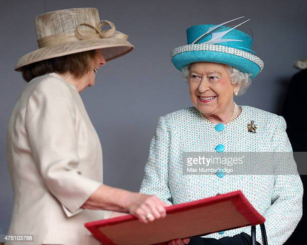 Queen Elizabeth II Duke of Lancaster is presented with the keys to the city as she visits Lancaster Castle on May 29 2015 in Lancaster England