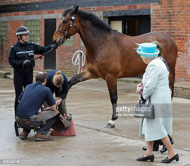 Queen Elizabeth II Duke of Lancaster watches a horse shoeing demonstration as she visits lodge livery at Myerscough College on May 29 2015 in...