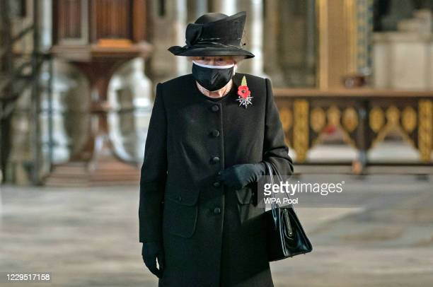 Queen Elizabeth II during a ceremony in Westminster Abbey to mark the centenary of the burial of the Unknown Warrior on November 4, 2020. The grave...