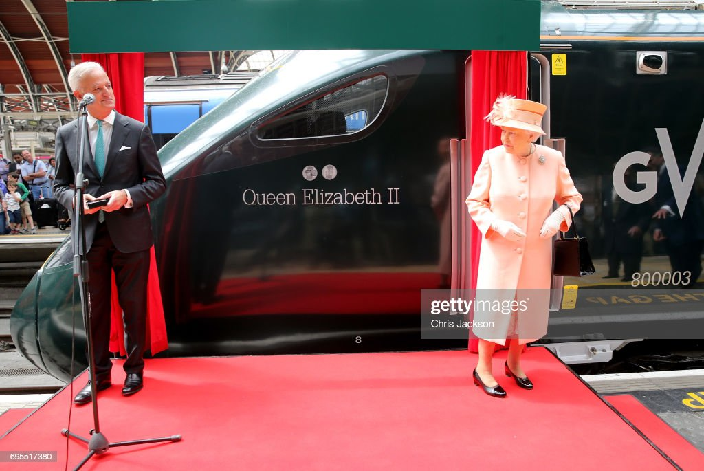 The Queen & Duke Of Edinburgh Mark The 175th Anniversary Of The First Train Journey By A British Monarch : News Photo