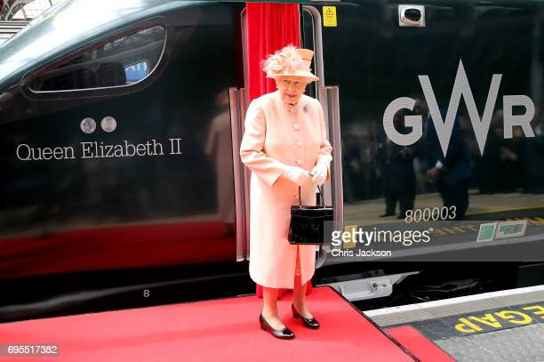 Queen Elizabeth II during a short unveiling ceremony for the new Great Western Railway's Intercity Express train named in her honour at Paddington...