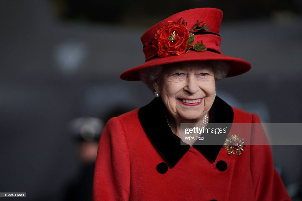 The Queen Visits HMS Queen Elizabeth In Portsmouth : News Photo