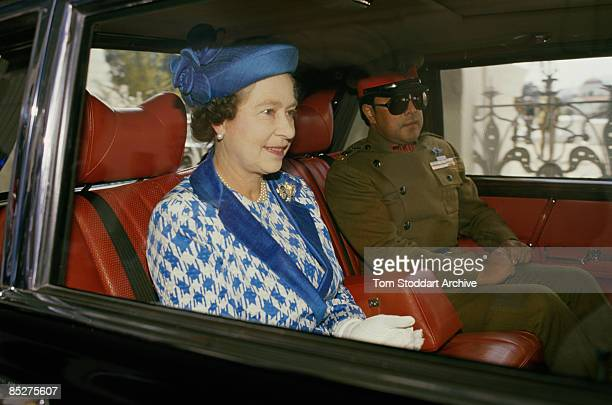 Queen Elizabeth II during a visit to Nepal February 1986