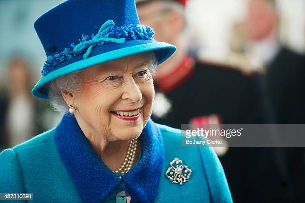 Queen Elizabeth II during a visit to the Chapel to view the restoration and meet local people involved with the project at the Royal Dockyard Chapel...