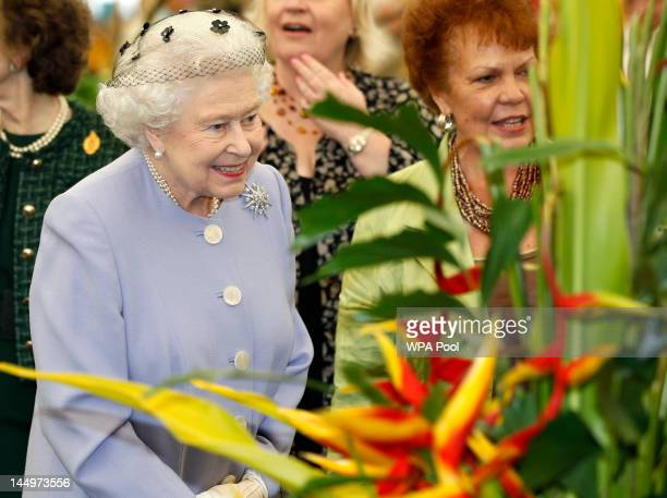 Queen Elizabeth II during a visit to the Chelsea Flower Show at Royal Hospital Chelsea on May 21, 2012 in London, England.