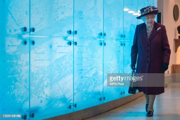 Queen Elizabeth II during a visit to the headquarters of MI5 at Thames House on February 25 2020 in London England MI5 is the United Kingdom's...