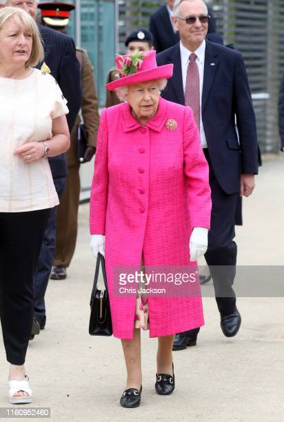 Queen Elizabeth II during a visit to the NIAB on July 09 2019 in Cambridge England